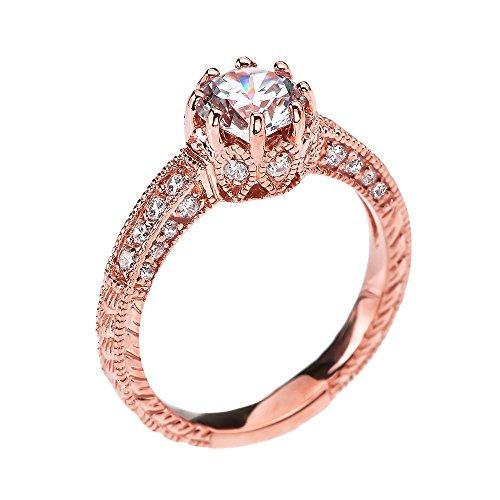 Damen Ring/Verlobungsring Art Deco Diamant 9 Karat Rotgold Mit 1 Karat Weiß Topas Mittelstein