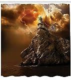 WANGXIAO Fantasy Castle on Cliff Fulmine Arte soprannaturale romanzo Tenda da Doccia