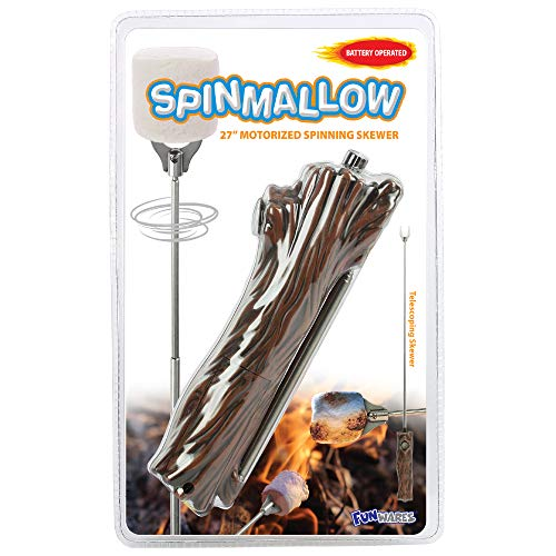 Funwares Spinmallow Motorized Spinning Skewer for Marshmallows - 27 Inch Rotating S'More Stick