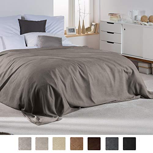 Beautissu Romantica Decke 210x280cm in Wildleder-Optik als Sofa-Überwurf Tagesdecke Plaid in Grau