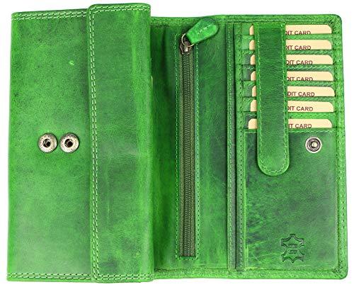 Hill Burry hochwertige große Vintage Leder Damen Geldbörse Portemonnaie Portmonee Frauen Geldbeutel aus weichem Leder mit extra vielen Fächern - 17,5x10x4cm (B x H x T) (Grün)