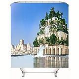 HBZZCL 3D Duschvorhänge Und Badematte Anzug,Cuban Babylon Sky Garden,Waschbar Stoff,Fabrik Wohnaccessoires 12 Duschvorhangringen-180(W) X180(H) cm