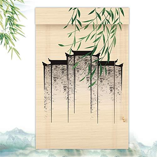 JIAJUAN Persiana Estores de Bambú Enrollable, para Interior Al Aire Libre Intimidad Barrera Puertas Ventanas Decoración Sombreado Proteccion Solar, Personalizable (Color : A, Size : 60X180CM)
