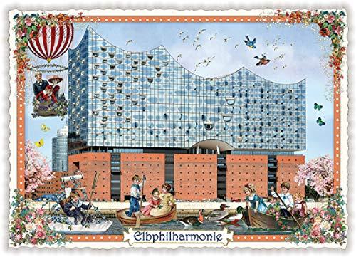 Nostalgische Postkarte mit Glitzer * Hamburg Elbphilharmonie
