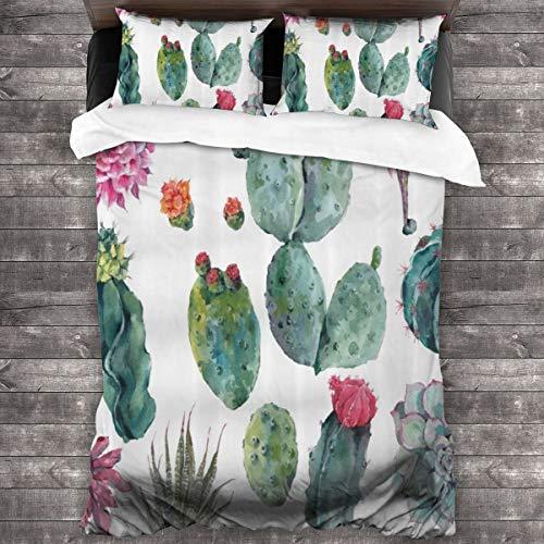 fudin Duvet cover bedding Set,Desert Botanical Herbal Cartoon Style Cactus Plant Flower With Spikes Print,3 Piece Set bedding with 2 pillowcases,SuperKing(220 * 260cm)