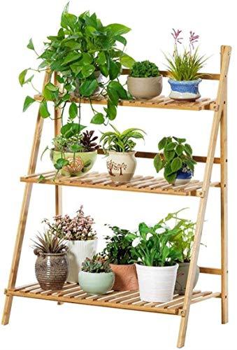 SMBYLL - Maceta de bambú en capas para balcón, sala de estar y para interior