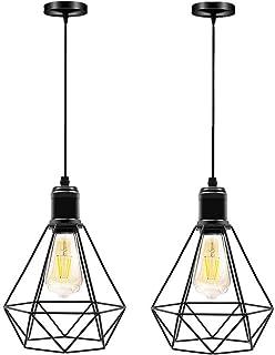 Lámpara de Techo Colgante Vintage Iluminación Industrial Lámpara Colgante Retro de Metal Pantalla Colgante con Casquillo E27 pare Restaurante,dormitorio,cocina,sala de estar-2 piezas