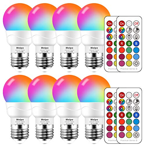 MELPO LED Color Changing Light Bulb with Remote Control, 5W 40W Equivalent, 500LM, 5700K,E26 Dimmable RGB Light Bulbs for Birthday Party / KTV Decoration / Household / Bar / Wedding (Pack of 8)