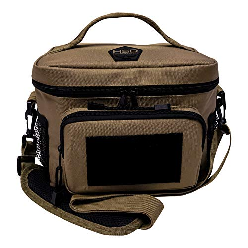 HSD Lunch Bag - Insulated Cooler, Lunch Box with MOLLE/PALS Webbing, Adjustable Padded Shoulder Strap, for Adults and Kids (Coyote Brown, Medium)