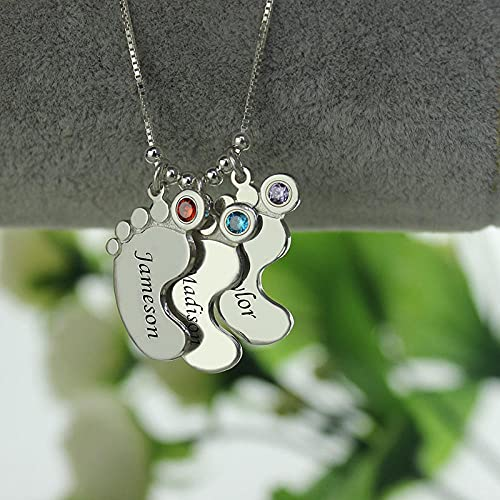 XQAQW Auténtico 925 Sterling Silver Nombre Grabado Collar Madre Collar Baby Feet Encanto Personalizado -35Cm(14Inch)_3_Feet