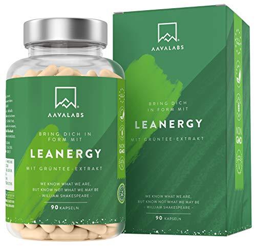 AAVALABS Leanergy Komplex - Grüne Tee, Grüner Kaffee, Guarana Extrakt + Garcinia Cambogia - Hochdosiert - 95% Polyphenolen - 100% natürlichen Zutaten - Vegan - 90 Kapseln.