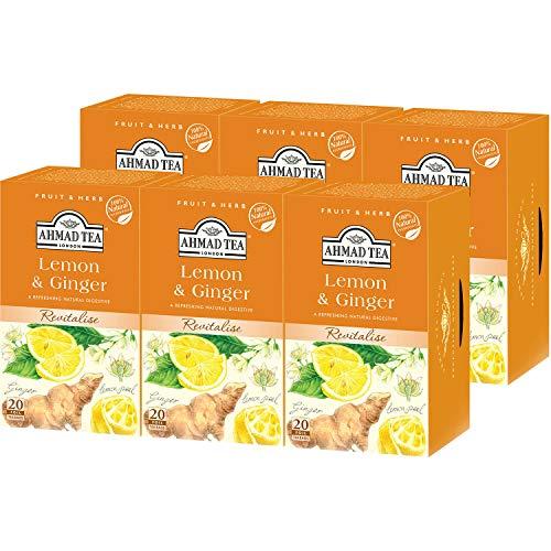 AHMAD TEA ( アーマッドティー ) レモン & ジンジャー 20袋 ×6個 [ ハーブティー ノンカフェイン 個包装 ]
