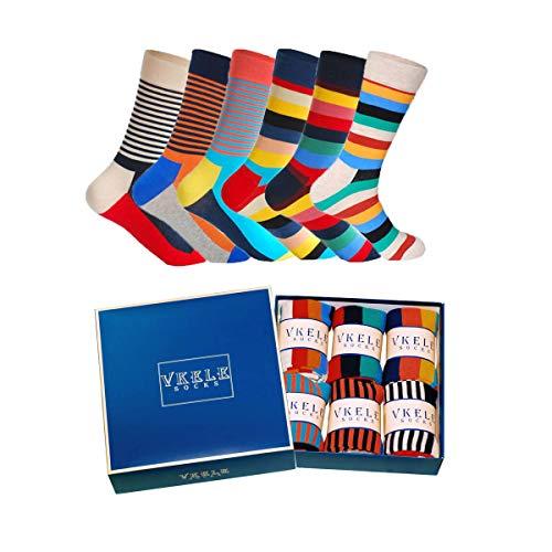 Vkele 6 Paar Bunte Socken (Streifen Muster) in Geschenkbox 43-46 Ideal als Geschenk Weihnachtsgeschenke für Männer und Frauen