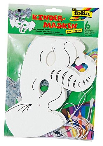 folia 23204 - Kindermasken Elefant, aus Pappe, 6 Stück, weiß, zum selbst Bemalen und Gestalten, für Kinder, Jungen und Mädchen, ideal für Kindergeburtstage und Partys