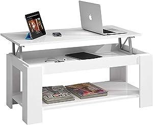 Bricozone Lagos Tavolino Basso Alzabile, Tavolino da caffè Estensibile Sollevabile, Tavolo Basso in Legno, 102 x 43 x 50 cm, Bianco