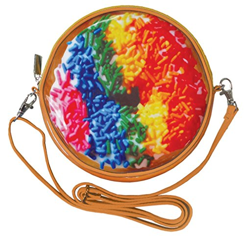 iscream Girls' Rainbow Sprinkles Double Donut Shoulder Purse with Zipper Closure