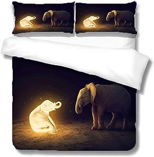 zzqxx Funda Nordica Infantil Cama 90 Niña Elefante resplandeciente 3D Juego de Funda de Edredón 135x200cm con Cierre de Cremallera 100% Poliéster y Dos Almohadas 50x75cm para Adulto Juvenil