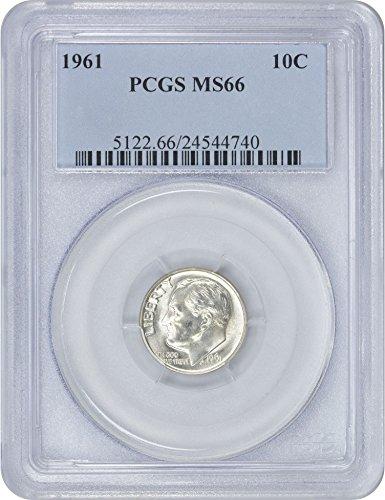 1961-P Roosevelt Dime, MS66, PCGS
