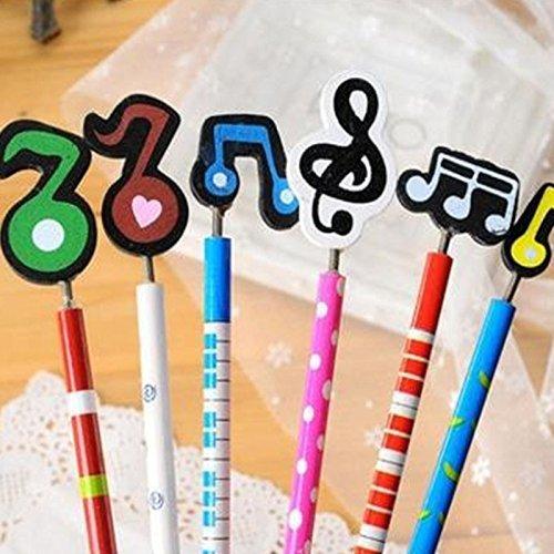 RHardware lápiz dibujo,set 12 Pcs animado decorativo de notas musicales en madera bolígrafo de escritura regalo los élèves color aleatorio