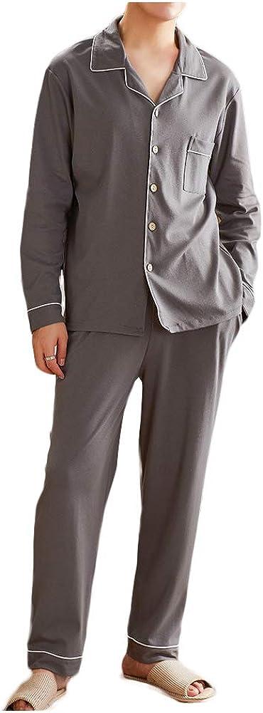Wowcarbazole Men's Cotton Pajamas Set Long Sleeve Top & Bottom Sleepwear Button Down Loose fit Sleep Pants Set Daily basis