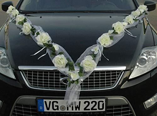 Rozen slinger auto sieraden bruidspaar roos decoratie autodecoratie bruiloft car auto wedding deco auto auto