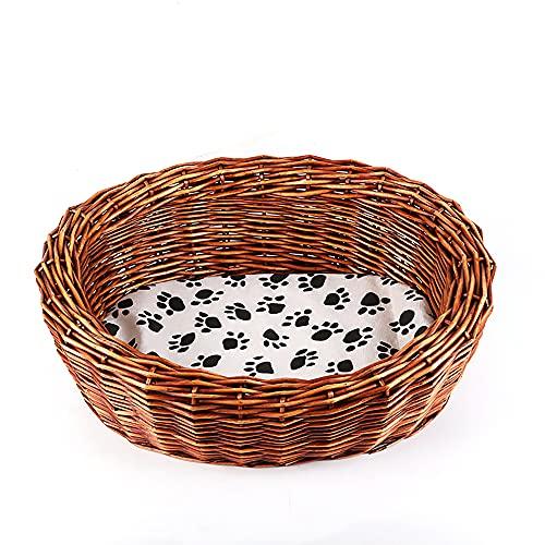JIEUO Nido de ratán para Gatos, Nido para Mascotas de Perrera, Nido de Mimbre para Gatos, extraíble y Lavable con cojín, Disponible en Todas Las Estaciones, 21 × 17 × 7.5 Pulgadas