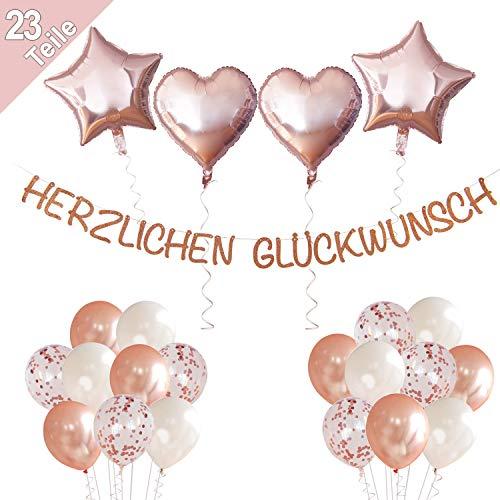 LumeeStar Herzlichen Glückwunsch Geburtstagsdeko Hochzeit Jubiläum Rente Abschluss - Rosegold - Glitzer Girlande Deko Set für Konfetti Luftballons Herzen Sterne
