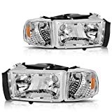 DWVO Headlight Assembly Compatible with 1994-2001 Dodge Ram 1500/ 94-02 Dodge Ram 2500 3500 (Chrome Housing)