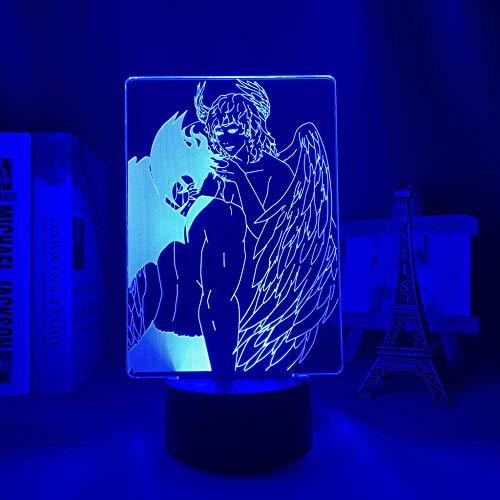Lámpara LED 3D anime dj & auml;Vulman para dormitorio, luz de noche decorativa para cumpleaños, lámpara de mesa para habitación, lámpara de noche LED acrílica, manga