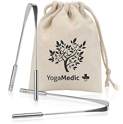 YogaMedic® Zungenreiniger [2x] 100% Edelstahl mit besseren Griffen, inkl. Baumwollbeutel - natürlich antimikrobiell gegen Mundgeruch - Ayurveda Zungenschaber Zungebürste