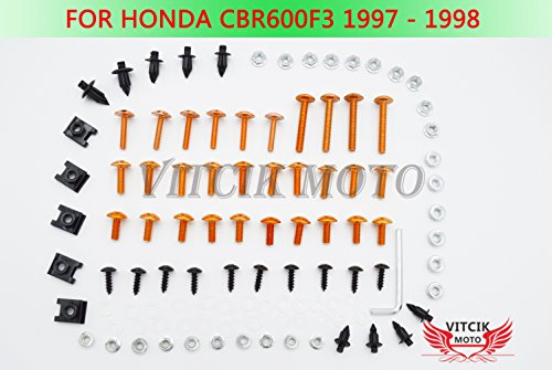 VITCIK Full Fairings Bolt Screw Kits for Honda CBR600 F3 1997 1998 CBR 600 F3 97 98 Motorcycle Fastener CNC Aluminium Clips (Orange & Silver)