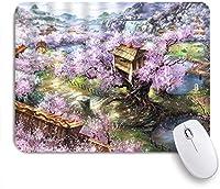 NIESIKKLAマウスパッド ファンタジー風景レトロ油絵中国の古代の家古い木花の咲く遠くの渓流フェアリーランド ゲーミング オフィス最適 高級感 おしゃれ 防水 耐久性が良い 滑り止めゴム底 ゲーミングなど適用 用ノートブックコンピュータマウスマット