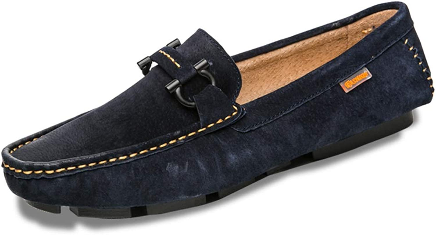 Gobling Driving Loafers for Men, NonSlip Moccasin Suede Leather Slippers Penny Boat shoes Vamp Decor with Fashion Buckle (color   blueee, Size   8.5 M US)