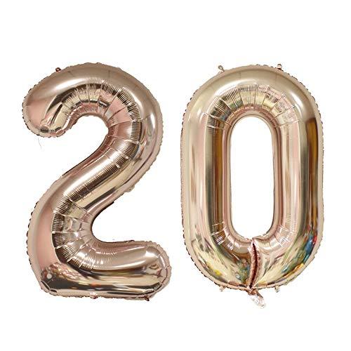 20歳の誕生日バルーン、「2」&「0」巨大のバルーン、20周年記念、結婚記念日、卒業パーティー(ローズゴールド)
