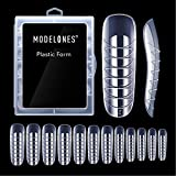Modelones Poly Extension Gel Dual Nail Form 120pcs Coffin Nails Clear Ballerina Nail Tips Full Cover