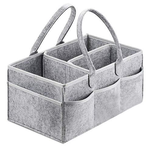 WANZSC Organizador de pañales para bebé, bolsa de almacenamiento portátil para cambiar la mesa y el coche, guardería esencial