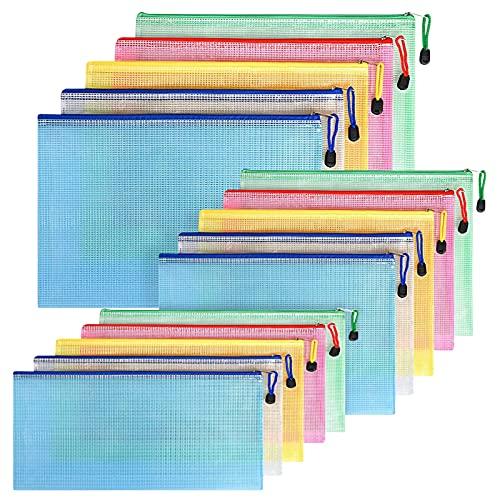 FYY Dokumententasche A4+A5+A6,15 Stücke (Je 5)Datei Taschen mit Reißverschluss,Mesh Kunststoff Reißverschlusstasche,Schulbüro Hausaufgaben für Datei,Papier,Quittungen,Dokumente,Kosmetika,Farbe Taschen