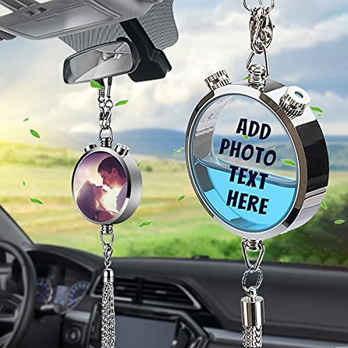 ARLTTH Colgante personalizado de la caja de perfume del ambientador del coche, adorno personalizado de la botella de la fragancia del encanto de los accesorios del coche con su foto/texto