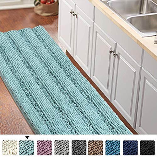 Turquoize Bathroom Runner Rug Extra Long Chenille Area Rug Non-Slip Blue Bathroom Rug Shag Shower Mat Blue Bathroom Rugs Kitchen Rugs Washable Bath Mats for Bathroom 59 x 20 inches, Duck Eggshell Blue