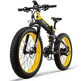 ZZQ 26 '' Fat de Ruedas Plegable Bicicleta eléctrica de 48V 13Ah 27 Velocidad de suspensión Completo de la Nieve de la montaña de Doble Disco hidráulico de Frenos,Amarillo