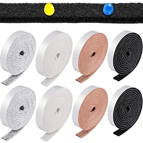 8 Rolls 1/2 x 60 Inch Felt Strips Self-Stick Strong Self Adhesive Felt Tapes Felt Bulletin Board Bar Strips, Pin Board Polyester Felt Strip Rolls for Furniture and DIY in Black Gray Beige Brown