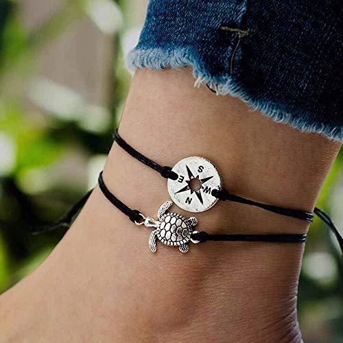 Jovono Boho Mittelfleckige Fußkettchen Runder Kompass und Schildkröte Anhänger Fußkettchen Armbänder Fashion Beach Foot Jewelry für Frauen und Mädchen (Silber)