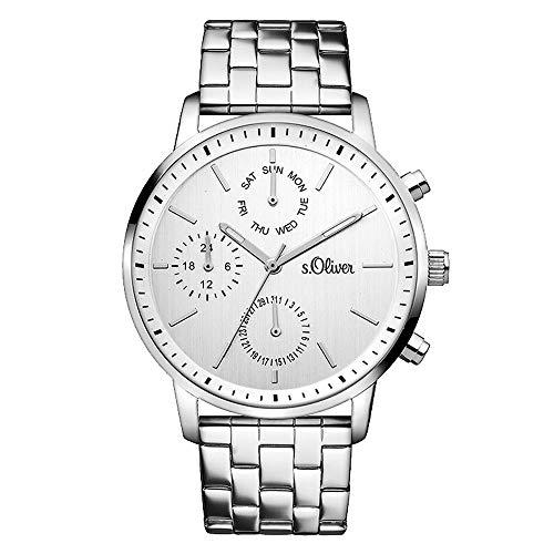 s.Oliver Damen-Armbanduhr Analog Quarz Edelstahl SO-3187-MM, silber