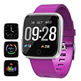 feifuns Smart Watch, Fitness Activity Tracker with Change Brightness Screen, IP67 Waterproof Fit Watch Wristband Pedometer Watch with Heart Rate Sleep Monitor for Android & iPhone (Purple)