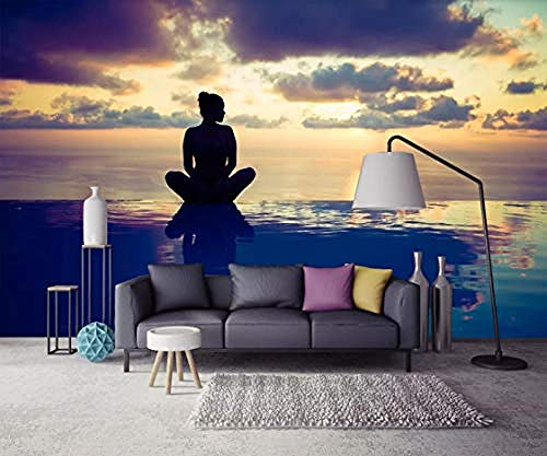 XHXI Sunset Girl Wall Paper 3D Wall Mural DIY Wall Decoration Modern Living Room Bedroom Wall Art Decal 3D Wallpaper Paste Living Room The Wall for Bedroom Mural border-150cm×105cm
