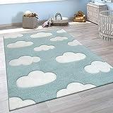 Alfombra Infantil Adorable Colores Pastel Motivo Nubes Pelo Corto En Azul Blanco, tamaño:140x200 cm