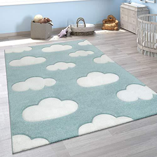 Alfombra Infantil Adorable Colores Pastel Motivo Nubes Pelo Corto En Azul Blanco, tamaño:120x170 cm