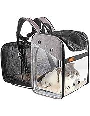 Transportín Mochila Perros Gatos Mascotas - Bolsa Transporte Extensible Plegable Transpirable y Espaciosa con Estructura de Alambre Sólido, Bolsa Portadora para Viaje Aprobada por Aerolínea (Gris)