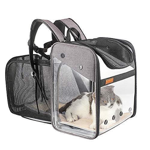 Transportín Mochila Perros Gatos Mascotas - Bolsa Transporte Extensible Plegable Transpirable y Espaciosa con Estructura de Alambre Sólido, Bolsa Portadora para Viaje Aprobada por Aerolínea (Rosa)