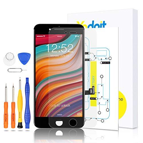 Yodoit para Pantalla iPhone 7 Plus Negro, Conjunto de Pantalla LCD y digitalizador Reemplazo de la Pantalla táctil de Vidrio con Marco + Kit de Herramientas de reparación (5,5 Pulgadas)
